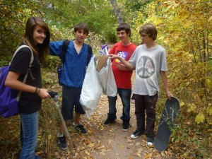 Jo, Leo, Dylan Bruno and Max on Clean-up day.